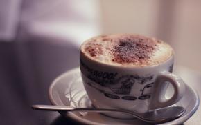 еда, настроение, кофе, какао, капучино, молоко, чашка, кружка, шоколад, тарелка, ложка, посуда, узор, тепло, горячо, вкусно, фон, широкоформатные обои, полноэкранные обои