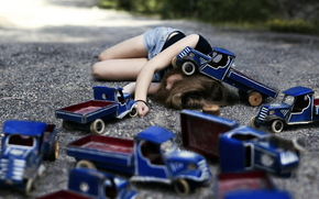 girl, machinery, mood