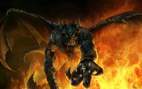 Демон, меч, крылья, рога, корона, пламя