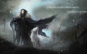 Game of Thrones, John Snow, bufera di neve, mantello, armatura, spada, lyutovolk