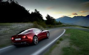 red, Mountains, road, rate, Alfa Romeo