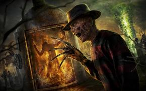 Freddy Krueger, guanto, Coltelli, cappello, fuoco, cimitero, drago