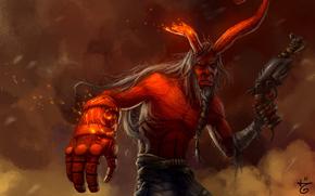 демон, красный, искры, пистолет, старость