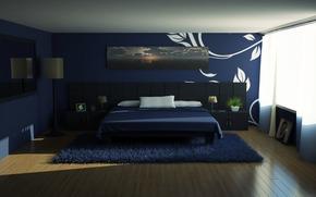 房间, 地毯, 床, 壁纸