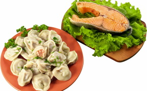pelmeni, fish, salad