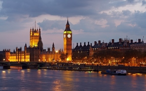 Big Ben, United Kingdom, England, London, Palace of Westminster, river, Thames, city, evening