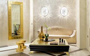 Стол, ваза, орхидея, цветок, зеркало, софа, книга