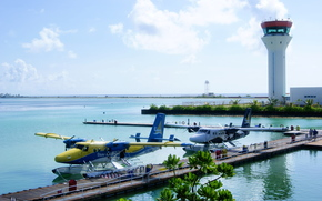 Maldives, airport, aircraft, floatplane, seaplane, Performance, control tower
