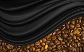 кофе, зерна, черный, шелк