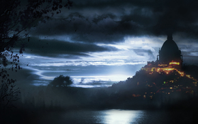 castle, building, fortress, night, swamp, sky