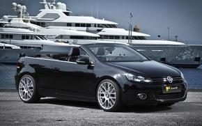 Volkswagen, golf, Cabriolet, Black, front, Tuning, yacht, background, volkswagen