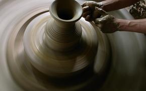 разное, искусство, глина, гончар, гончарный круг, мастер, горшок, руки