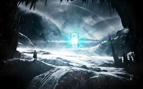 paysage, Montagnes, neige, froid, personnes, portes, portes, voyageurs, Rocks, net