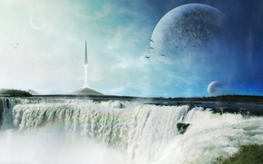 Art, waterfall, missile, ship, spire, pyramids, Planet, Birds, foam