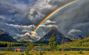 Montagnes, ciel, arc en ciel, fort, rivire, magasiner