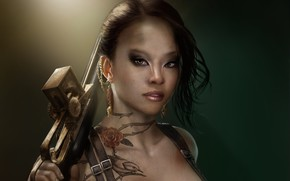 艺术, 女孩, 武器, 纹身, 纹身, 突变体, 装饰物, 耳环, 鸟, 玫瑰, 的刺, 疤痕, 头骨