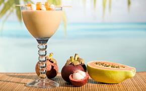 cocktail, drink, goblet, fruit, mat, macro, papaya, Mangosteen