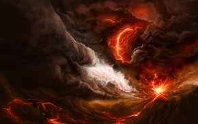 Art, volcano, mountain, lava, fire, smoke, eruption, lightning, storm, Storm, clouds