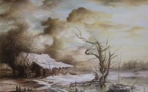 Arte, paesaggio, inverno, neve, piccola capanna, casa, fiume, barca, albero, nuvole