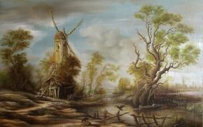Arte, natura, mulino, immagine, albero, palude, lago, acqua, uccello, corvino, piccola capanna, casa, capanna, uomo, culo, animale, recinto, barca