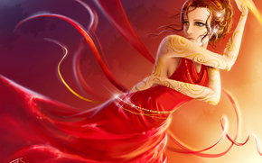 picture, girl, dress, red, pattern, Tape, dance