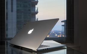 ноутбук, стол, окно, Hi-Tech