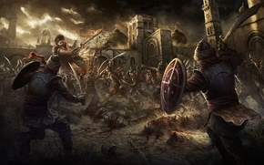 Art, battle, castle, fortress, army, weapon, dome, cross, city, magic, Lightning, corpses