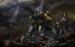 Ночь, воины, броня, оружие, порезы, кровь, упыри, зона, колючая проволока, прожектор