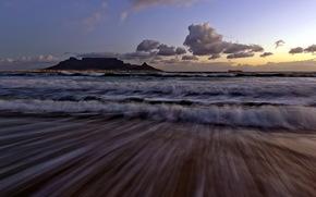 ночь, море, волны, природа, пейзаж