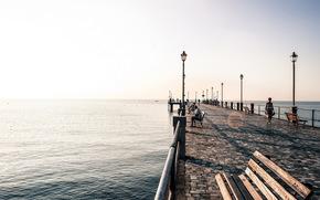 море, набережная, утро, пейзаж