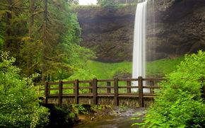 fiume, ponte, cascata, natura, paesaggio