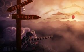 арт, камни, скалы, шарф, указатель, выбор, воздушный шарик, облака, реальность, мечты