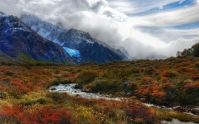 Mountains, snow, creek, grass, variegated, bright