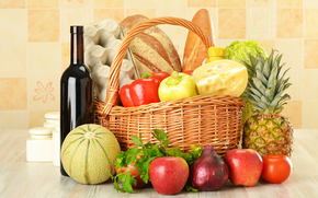 basket, vegetables, fruit, bottle, wine, red, eggs, bread, cheese, pineapple, cabbage, pepper, apples, onion