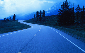 strada, disposizione, crepuscolo, Alberi, alberi, Montagne, nuvole