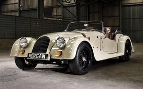 Morgan, roadster, white, front, Supercar, hangar, background, supercars