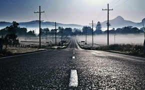 road, layout, fog, Pillars, Wire