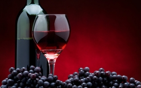 wine, red, grapes, bottle, goblet, glass, black background