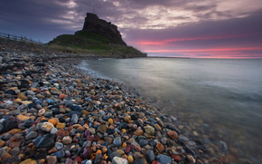 sea, pebble, fortress, surf, sunset