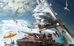 атр, картина, мольберт, зонт, небо, фатазия, художник