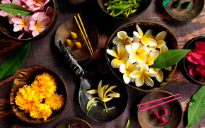 ciotole, tavolo, Sticks, fiori