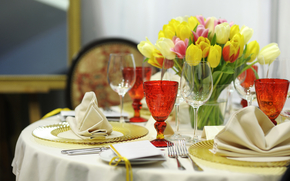 Table, laying, glasses, dishes, Flowers, Tulips, Fork, Wipes