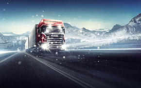 car, CARGO, wagon, emission of, cabin, body, road, snow, blizzard, Winter, Other brands