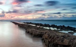 sea, stones, sunset, landscape