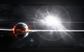 планета, огонь, взрывы