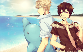 anime, tipo, estate, spiaggia, delfino, gelato, sole, stato d'animo, Orihara Izaya, Heiwajima Shizuo