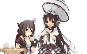 anime, girl, Gothic, Tea Party, princess, umbrella, Table