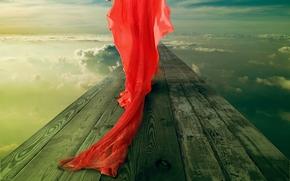 ragazza in abito rosso, pennacchio, ponte, cielo, nuvole, anello