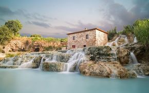 Saturnia, Italy, waterfalls, nature, lodge