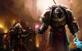 Space Marine, inquisitore, armatura, armatura, arma, fuoco, citt, rosa